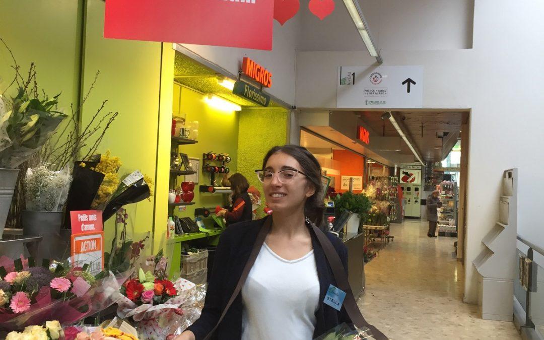 Distribution de roses pour la Saint-Valentin